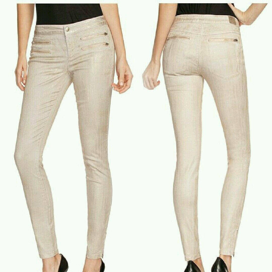 NWT GUESS 8-Zip colord Skinny Jeans in District Taupe SIZE 24