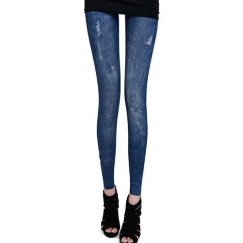 Womens Ripped Distressed Denim Pants Slim Fit Skinny Casual Jeans Long Trousers