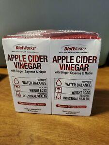 2 packs DietWorks Apple Cider Vinegar Maximum Strength 90 Capsules 2/2022 Sealed