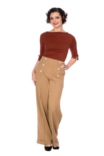 Women/'s Marrone Chiaro Gamba Larga Vita Alta Vintage con Bottoni Pantaloni Banned Apparel
