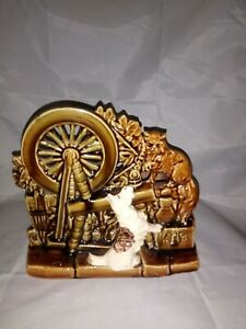 Vintage-McCoy-Pottery-Spinning-Wheel-Scottie-Dog-amp-Cat-Planter
