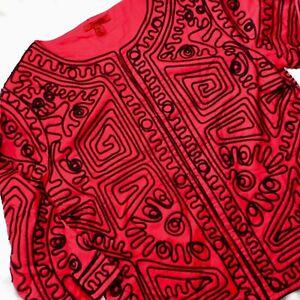 Joni B Boho Aztec Cropped Jacket Womens M Topper Red Black  3/4 Sleeve