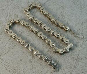 Heavy-and-Solid-16-034-Long-Sterling-Silver-Bike-Chain-Link-Necklace