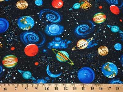 Universe /& Planets Solar System Outer Space Blue Cotton Fabric Print BTY D506.28