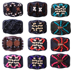 Women Magic Hair Comb Clip Double Slide Wood Beads Elastic Hairpin Hair Decor