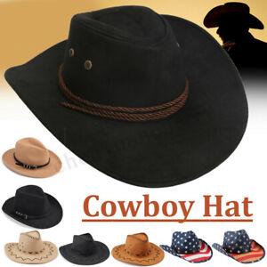 Men-Women-Cotton-Cowboy-Hat-Western-Cap-Panama-Wide-Brim-Sombrero-Sunhat-Winter