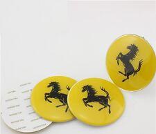 Set of 4 Sticker Ferrari Yellow 3D Style Wheel Center Hub Cap Badge Emblem 56mm