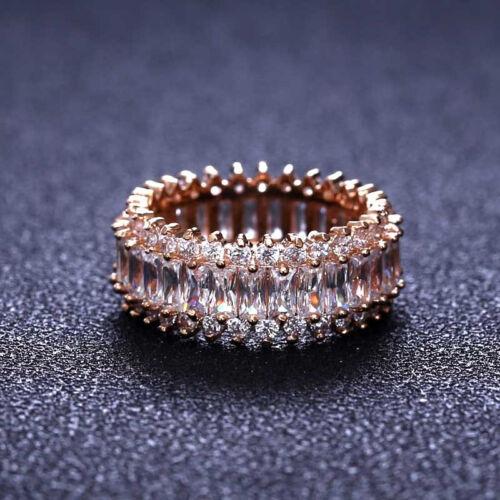 18k Rose Gold Channel Set Baguette Swarovski Eternity Ring Anniversary Band 3 ct
