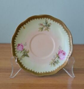 Vintage-fine-china-saucer-plate-mint-green-pink-flowers-DPLW-A11