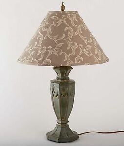 Image Is Loading VINTAGE BRONZE FINISH METAL TABLE LAMP AND SHADE