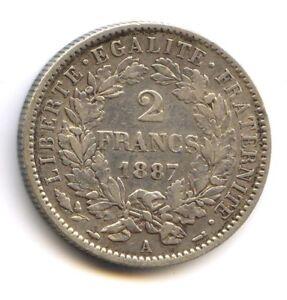 III No Republic (1871-1940) 2 Francs Cérès 1887 a Paris