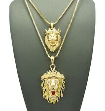 "NEW ICED OUT CROWN LION & ROARING PENDANT 2mm/30"" BOX CHAIN NECKLACE SET RC1482"