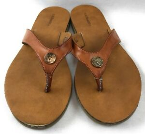 40173ad853115f Details about G H Bass   Co 7 M Elsie Leather Flip Flop Sandal Camel Brown
