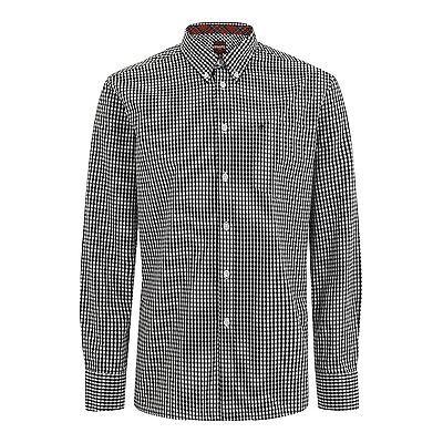 Da Uomo Merc London Bottoni Gingham Check camicia stile japster-Nero