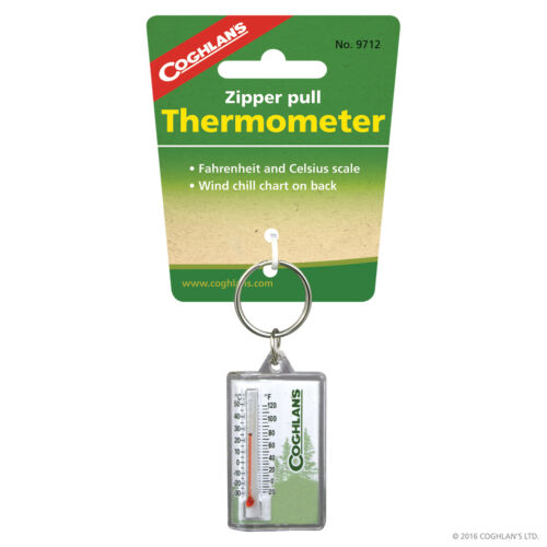 Coghlans Outdoor Jacket Zipper Zip Pull Thermometer in Fahrenheit /& Celsius