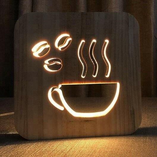 COFFEE TEA HOT COCOA WOOD LAMP USB LED BEDROOM NIGHT LIGHT SUSTAINABLE OAK WOOD