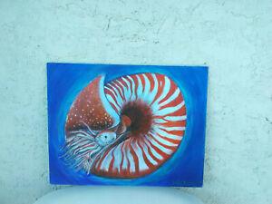 Original-Acrylic-Painting-11x14-Canvas-Panel-Nautilus-Beach-Coastal-Marine-Art
