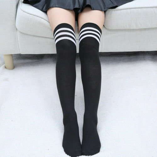 Stocking Solid Color Long Cotton Stockings Over The Knee Socks Thigh High Women