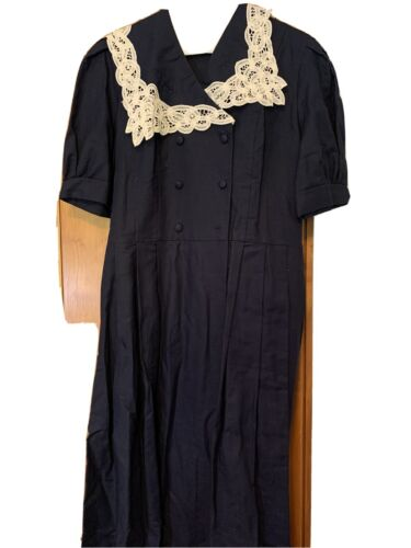 Vintage Laura Ashley Navy Dress Size 8  Linen Sail