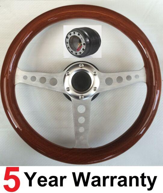 NEW WOODEN RACE STEERING WHEEL AND BOSS KIT HUB FIT VW T25 T4 TRANSPORTER 74-95