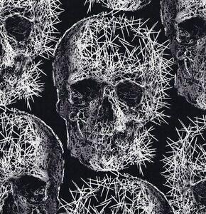 Michael-Miller-gothique-Spike-freak-out-cranes-sur-Noir-tissu-de-coton-FQ