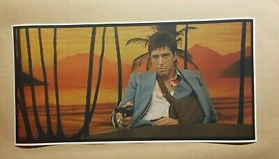 """Details about  /Scarface 12/"""" X 24/"""" Wide screen Movie Poster man cave bar Gangster guns hot tub"""