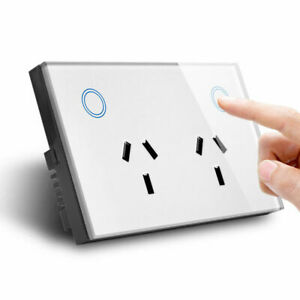 Double-GPO-Touch-Glass-Panel-Power-Point-Wall-Outlet-Socket-Switch-10AMP-White