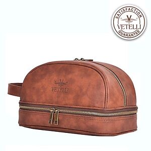 a0c998ee43 Men Leather Toiletry Bag Vetelli Vintage Dopp Kit Travel Bottles ...