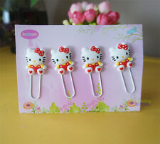 4 Pcs Red Bow Hello Kitty Note Office Paper Clip School Supplies Study Article