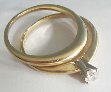 Mid-Century1960's Stackable 14K Gold Wedding Band and Diamond Engagement Ring 8