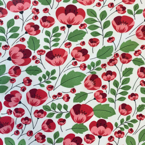 100/% Algodón Popelín Tela Rose /& Hubble agua Lane Amapola Flores Floral Amapolas