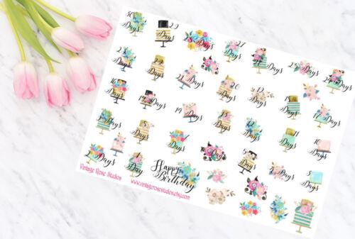 Anniversaire compte à rebours Planner Stickers Daily /& Décoratif pour tous les types Planner