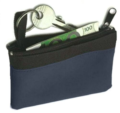 etc H0blue Soft Blue Zipped Purse with Keyring Loop Ideal for Cards Keys Change