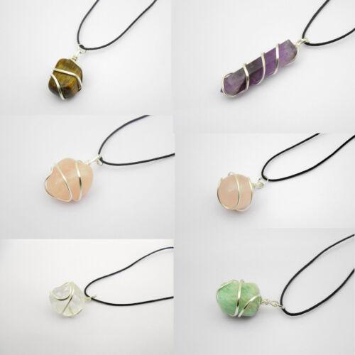 Bag of 12 Wire Wrap Stone Pendants Rose Amethyst Amazonite Tiger Crystal Pendant