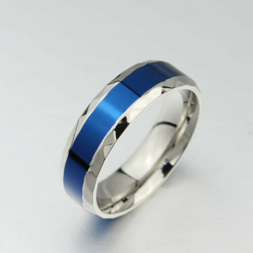Lover/'s Stainless Steel Couple Rings Silver/&Blue Band Valentine/'s Day Size 5-13