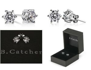 8d54fd231 B.Catcher 925 Sterling Silver Round Cut Cubic Zirconia Stud Earrings ...