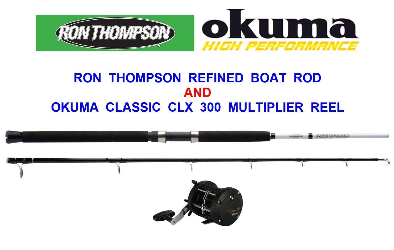 RON THOMSON 20-30lb 6ft 2pc BOAT ROD OKUMA CLX 300La MULTIPLIER REEL