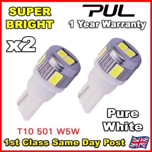 2x NO ERROR FREE CANBUS 6 SMD LED PURE HID WHITE W5W T10 501 SIDE LIGHT BULBS