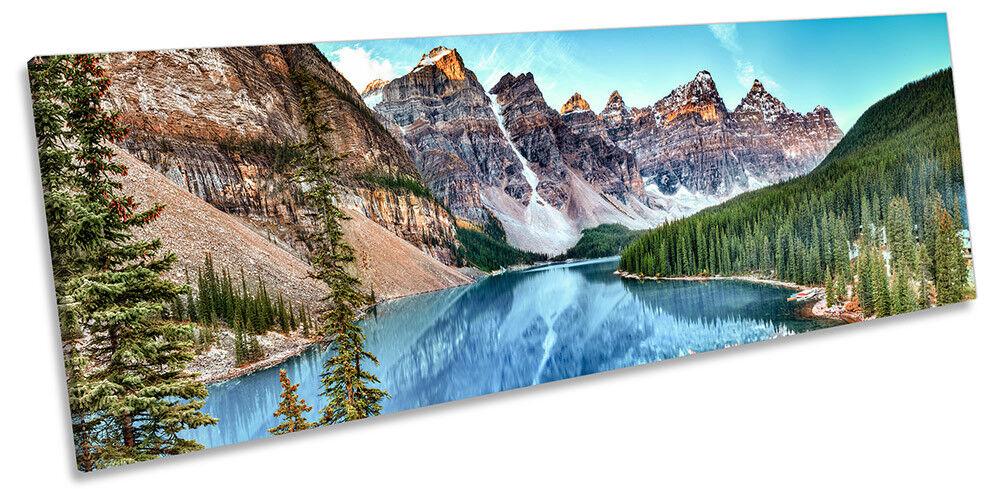 Lago montañas Canadá Bosque Enmarcado panorama Lona Impresión Pared Arte Arte Pared 49e2a3