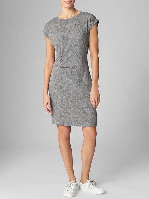 Gap Gathered-Waist Dress in Lite Jersey, sz XS Heather Grey
