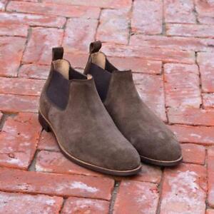 Bottines-Chelsea-Hommes-Marron-Robe-Decontractee-Chaussures-Handmade-luxe-mi-mollet-en-daim-cuir