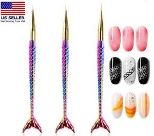 3PCS Nail Art Pen Dotting Painting Drawing UV Gel Liner Polish Brush Tool Set US