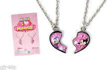 Disney Love Minnie Mouse 2 x Necklace Pendant Heart Shape Best Friends 1/2 Each
