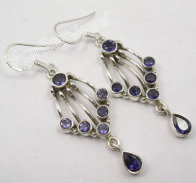 "925 Pure Silver Rare Iolite 7 Semi Precious Gemstone Designer Earrings 2"" Jewelry & Watches"