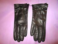 Portolano Black Bow Soft Leather Glove W/100% Silk Lining Size 7.5 Wrist