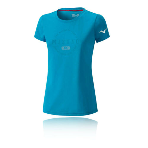 Mizuno Womens Heritage 1906 Running T Shirt Tee Top Blue Sports Breathable