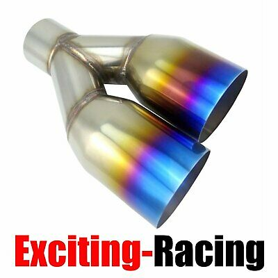 """2.5/"""" 3.5/"""" Muffler Staggered Dual Exhaust Tip Polished Stainless Steel Blue Burnt"""