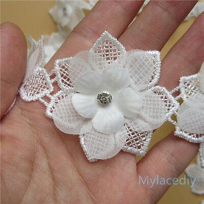 5pcs Vintage Flower Diamond Lace Edge Trim Wedding Ribbon Applique Crochet Patch