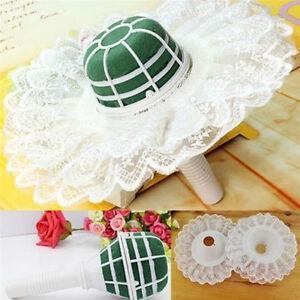 Foam-Bouquet-Handle-Bridal-Wedding-Flower-Holder-Decoration-With-Lace-Trim-JL