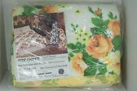 Vtg 1970s Rose Garden Full Twin Blanket Polyester & Acrylic Charles D Owen